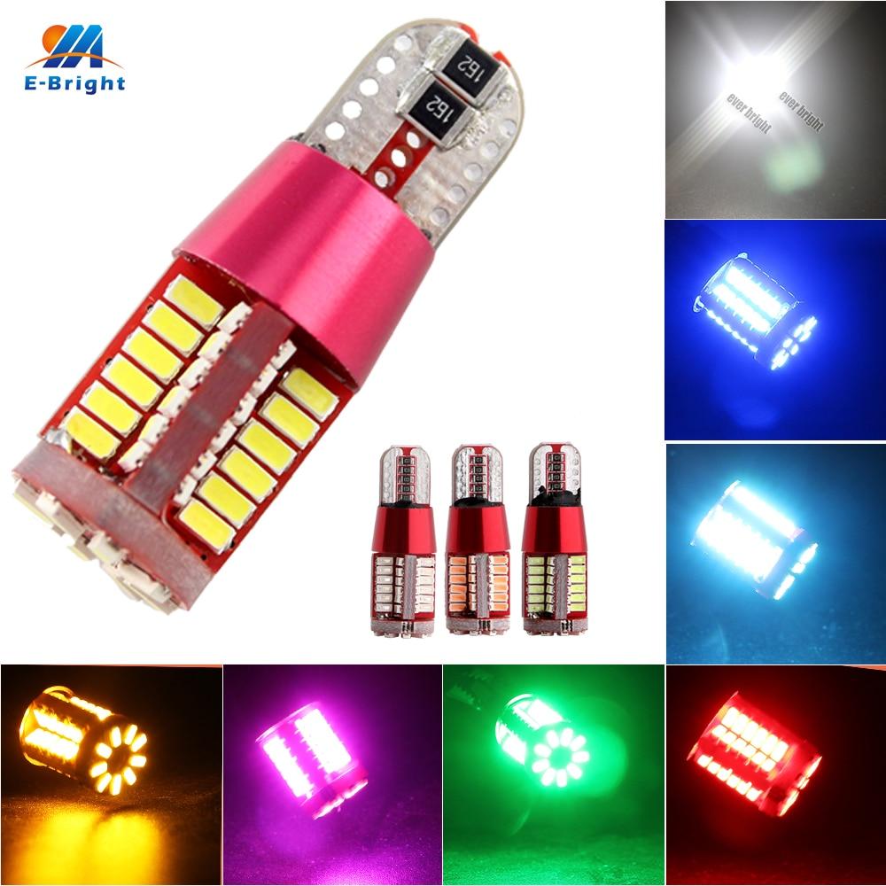 Car Styling 50PCS T10 LED Canbus Auto Car Bulbs Mix Colors W5W 194 168 3014 57