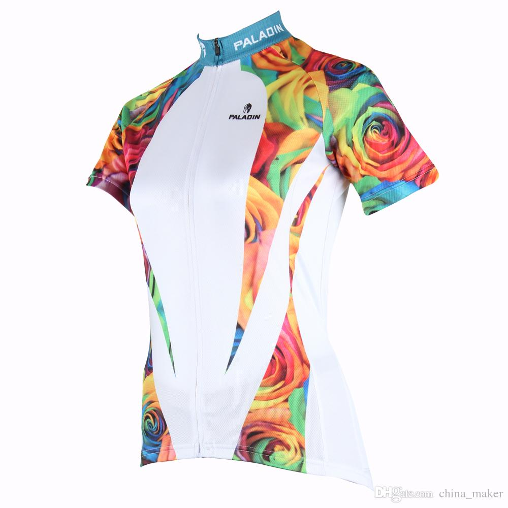 176 Hot Selling White Rose Hot cycling jerseys Cycling Jersey 2017s Women's adequate quality Sleeve Summer Cycling Tops Cycling cycling jersey 176 hot selling hot cycling jerseys red lily summer cycling jersey 2017 anti shrink compressed femail adequate qu