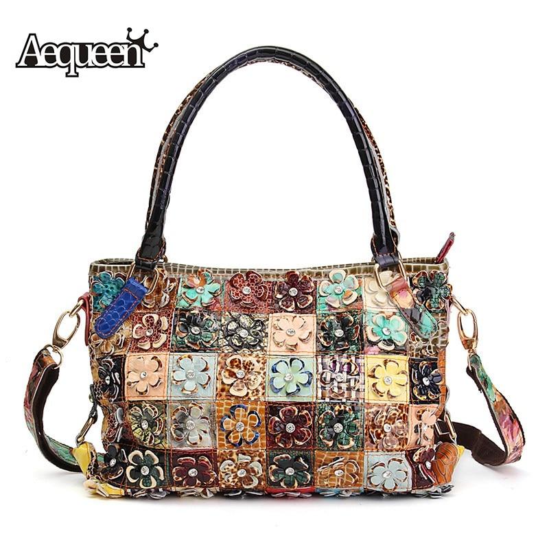 AEQUEEN Women Handbags Vintage Shoulder Bags Genuine Leather Diamond 3D Flower Patchwork Crossbody Messenger Bags Random