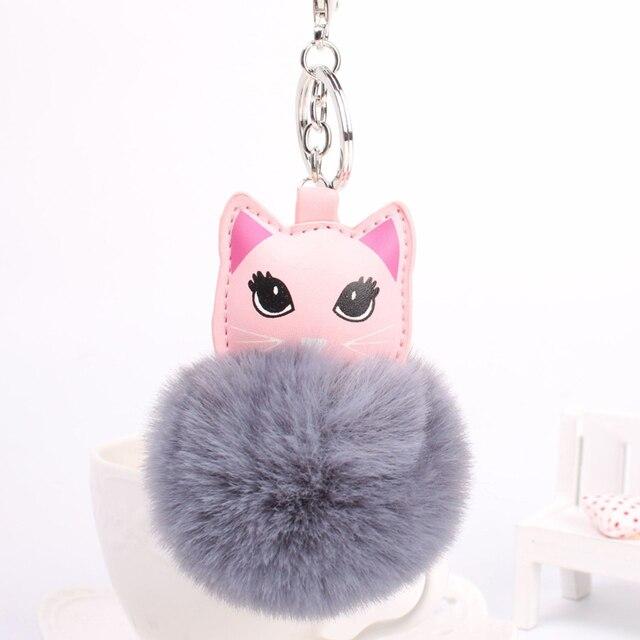 Women s Key Ring Cat Lovely Pompom Fluffy Ball Keychain Bag Pendant Ornament 4dac36b61e77a