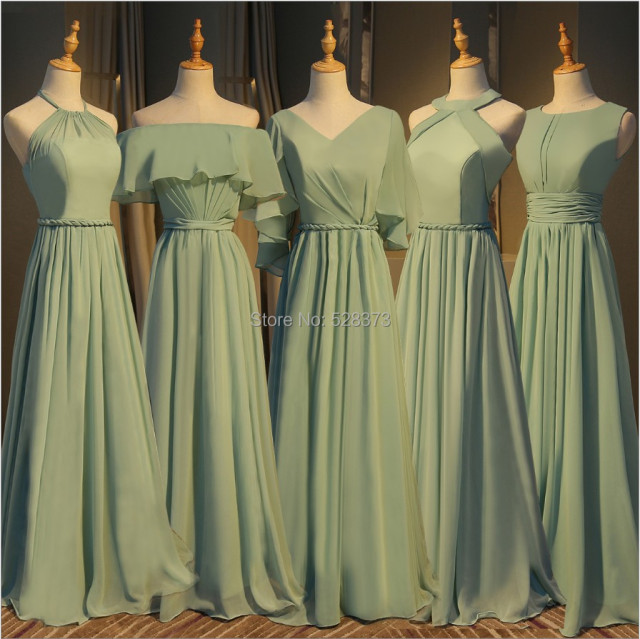 35011a1a3 YNQNFS BD3 Elegant Chiffon Multi Color Halter Bridesmaid Dresses Olive Green  Real Photos
