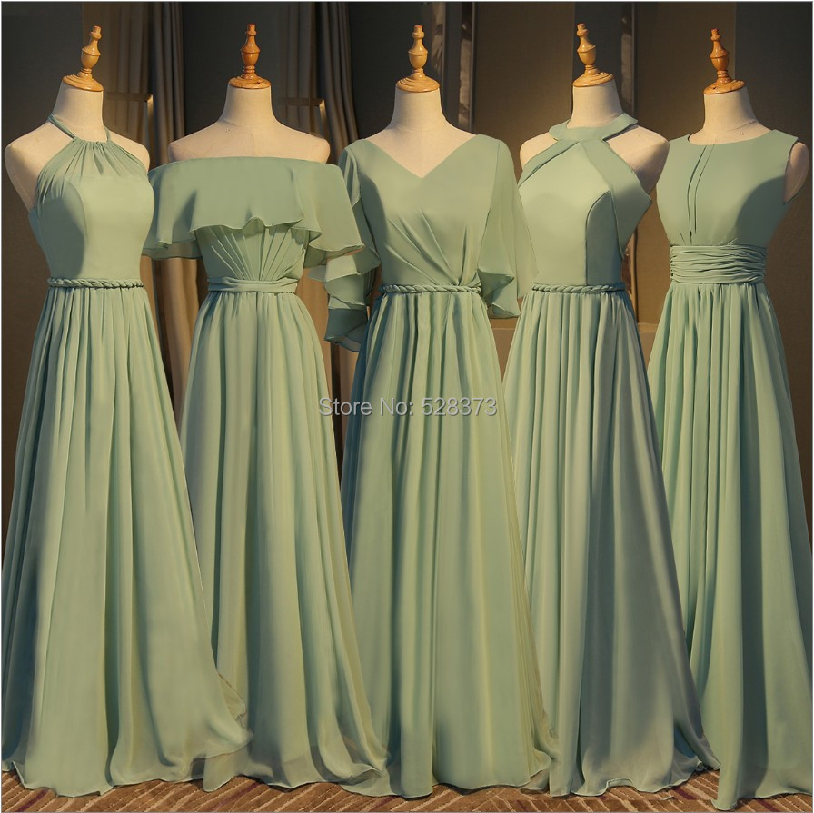 YNQNFS BD3 Elegant Chiffon Multi Color Halter   Bridesmaid     Dresses   Olive Green Real Photos