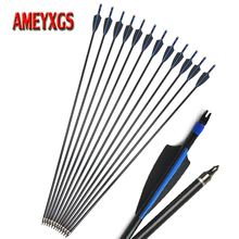6/12pcs Archery Spine 500 31.5 Fiberglass Arrows Replaceable Broadhead For Outdoor Bow And Arrow Hunting Shooting Practice