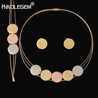 Kindlegem High Quality Parure Bijoux Femme Real Italy 750 Rose Gold Silver Color Three Tone Jewellery For Women No't Fade