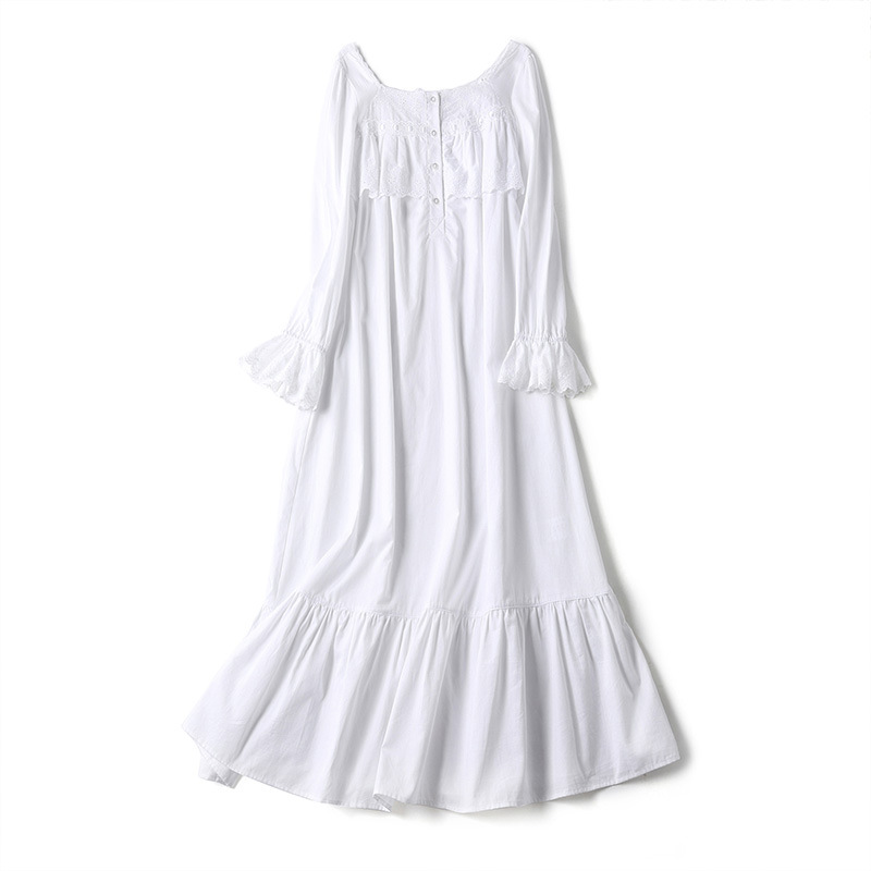 Pure Cotton Sleepwear Female Spring Thin Loose Palace Lovely Princess Lace Long Sleeve Nightdress White Long Nightgowns D181206 in Nightgowns Sleepshirts from Underwear Sleepwears