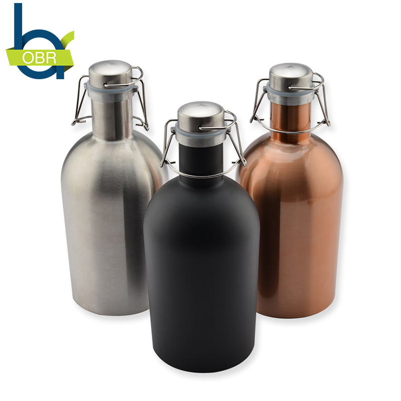 ObR 64oz Stainless Steel Vacuum Homebrew Beer Water Bottle Camping Flask Large Outdoor Sport Drinking Kettle Thermos Lid