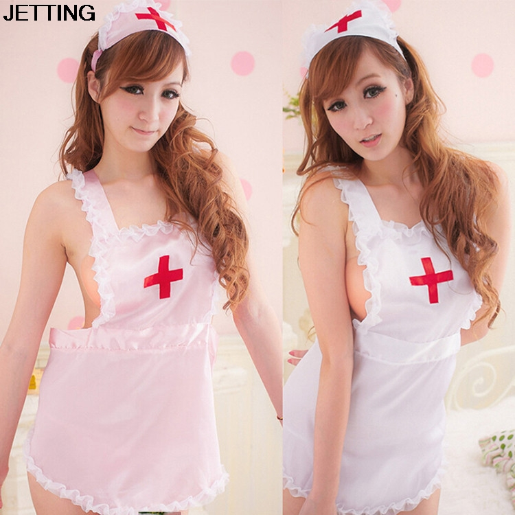 <font><b>COSPLAY</b></font> temptation to nurse <font><b>Sexy</b></font> lingerie women costumes <font><b>Sexy</b></font> underwear Role play Pink White Sleepwear image