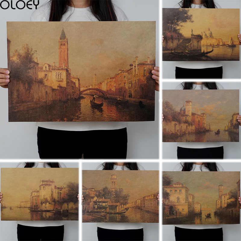 OLOEY 1PC Resorts Vintage Water Town Venice Seascape Oil Painting On Canvas Poster Modern Wall Art Pictures For Living Room