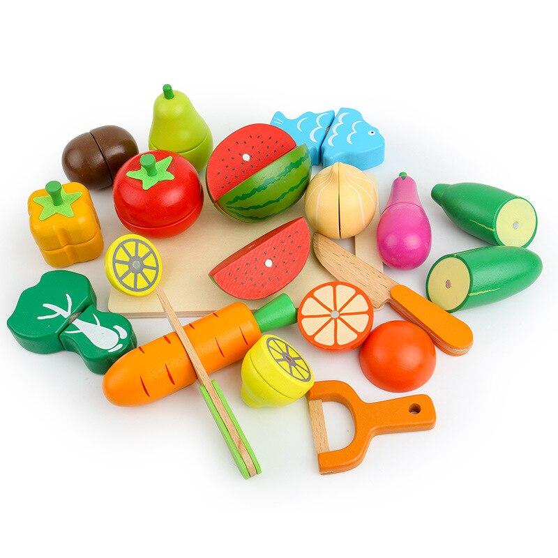 17 pièces en bois classique jeu simulation cuisine série jouets coupe fruits et légumes jouets éducation précoce cadeaux-in Jouets-cuisine from Jeux et loisirs    2