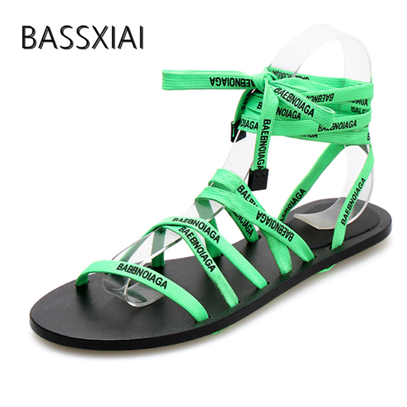 2019 Green Bandage Gladiator Sandals Woman Open Toe Cross Strap Flat Sanldals Women Fashion Party Shoes