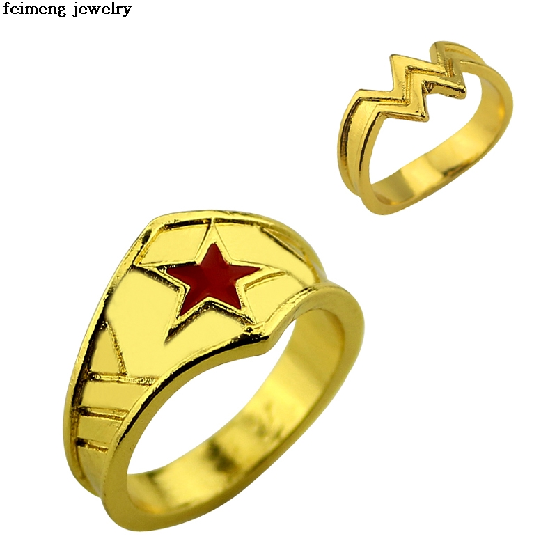 Wholesale Wonder Woman Anillo de Apilamiento, Super hero 3D Logotipo de La Mujer Maravil ...