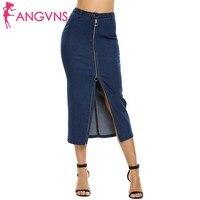 ANGVNS Phụ Nữ Midi Pencil Bodycon Váy Vintage Demin Váy Strench Jean Váy Dây Kéo Chia Gói Hip Ống Váy Cộng Với Kích Thước