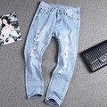 2015 Nova Ripped Jeans Mulheres Mais Calças Jeans Tamanho Calças Capris Harém Casuais Calças Lápis Do Vintage Calça Jeans Boyfriend para As Mulheres