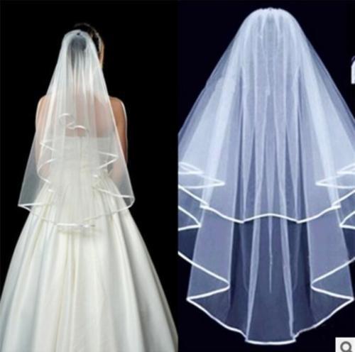 לבן טול קצר כלה רעלה כלות חתונה אביזרי טול סאטן קצה עם מסרק אצבע רעלה