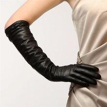 Высокое качество модные черные женские перчатки из овчины 45 см длинные из натуральной кожи пять пальцев зимние женские перчатки для вождения L081NN-5