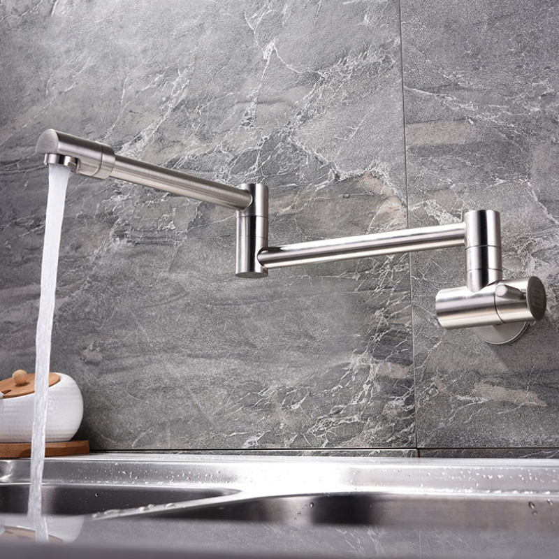 Folding Single Kitchen Faucet Sink Water Pot Filler FaucetSingle Cold Water Wall Mounted Tap Brass Faucets Chrome Brushed TapsFolding Single Kitchen Faucet Sink Water Pot Filler FaucetSingle Cold Water Wall Mounted Tap Brass Faucets Chrome Brushed Taps