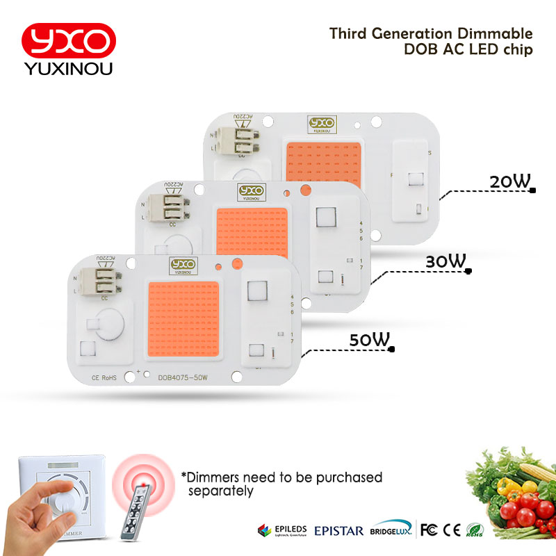 1pcs Hydroponice AC 220V 20w 30w 50w cob led grow light chip full spectrum 370nm-780nm for Indoor Plant Seedling Grow and Flower(China)
