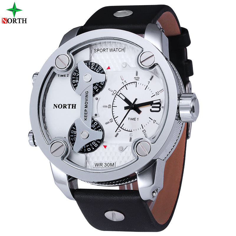 weide sport watches men luxury black leather strap quartz dual time zone analog date men military male clock oversize wristwatch Men Watches Sport Chronograph 3 Time Zone Male Clock Military Wristwatch Waterproof 30M Genuine Leather Quartz Sport Watch Men