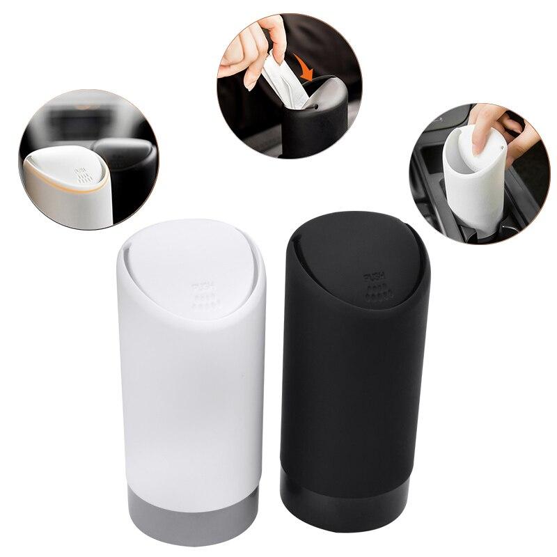 SPEEDWOW 1 Uds. Cubo de basura para coche, cubo de basura de silicona, contenedor de basura, cubo de basura, blanco y negro