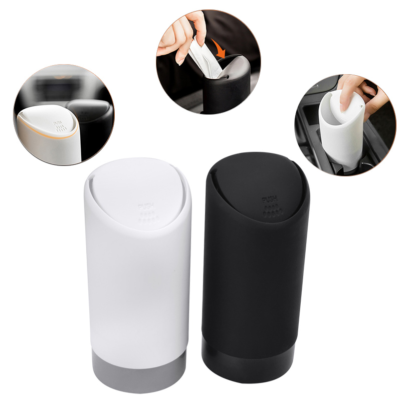 SPEEDWOW 1PCS Auto Car Garbage Can Car Trash Can Silicone Garbage Dust Case Holder Rubbish Bin Black White