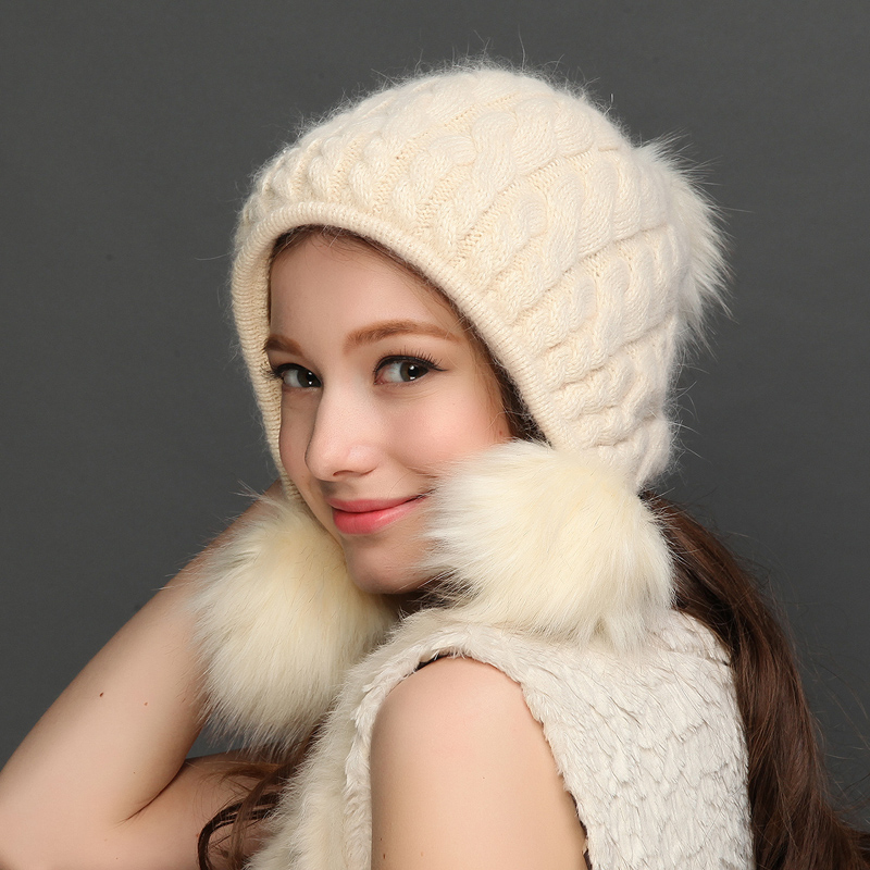Fashion Women Knitted Hat Keep Warm Thicken Winter Wool Hats With Pom Pom Casual Knitting Rabbit Blend Skullies Beanies 5309 skullies beanies newborn cute winter kids baby hats knitted pom pom hat wool hemming hat drop shipping high quality s30
