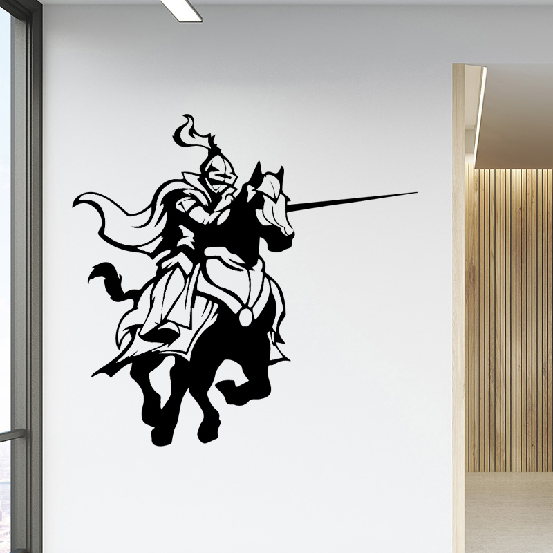 Us 1 28 12 Off Aiyoaiyo Retro Knight Home Decor Vinyl Wall Stickers Children House Background Art Decal In From