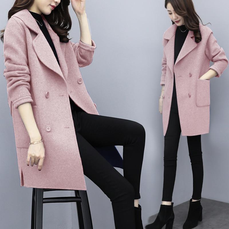 Occasionnel Couleur Manteau 2018 blue Automne De Nouvelles Lâche Femmes Parkas pink Hiver Épais Femelle Coréenne Chaud Black Slim Laine Outwear Solide wfqq6Bx