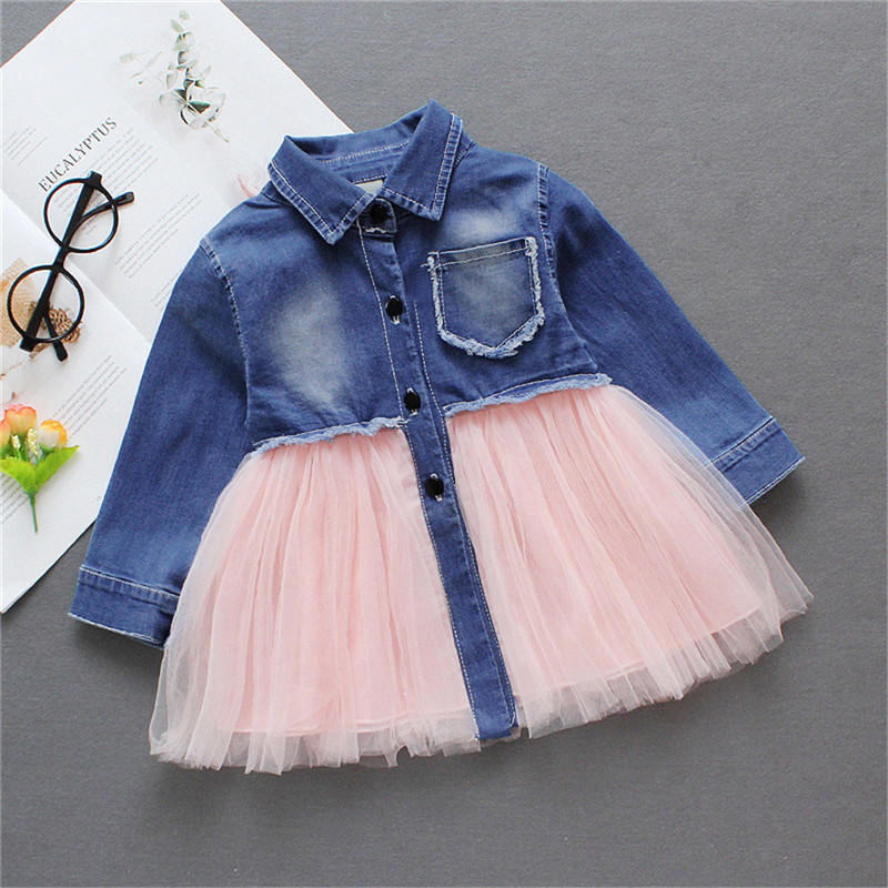 Winter Infant Baby Girls Dresses Toddler Denim Tutu Tulle Princess Outfits