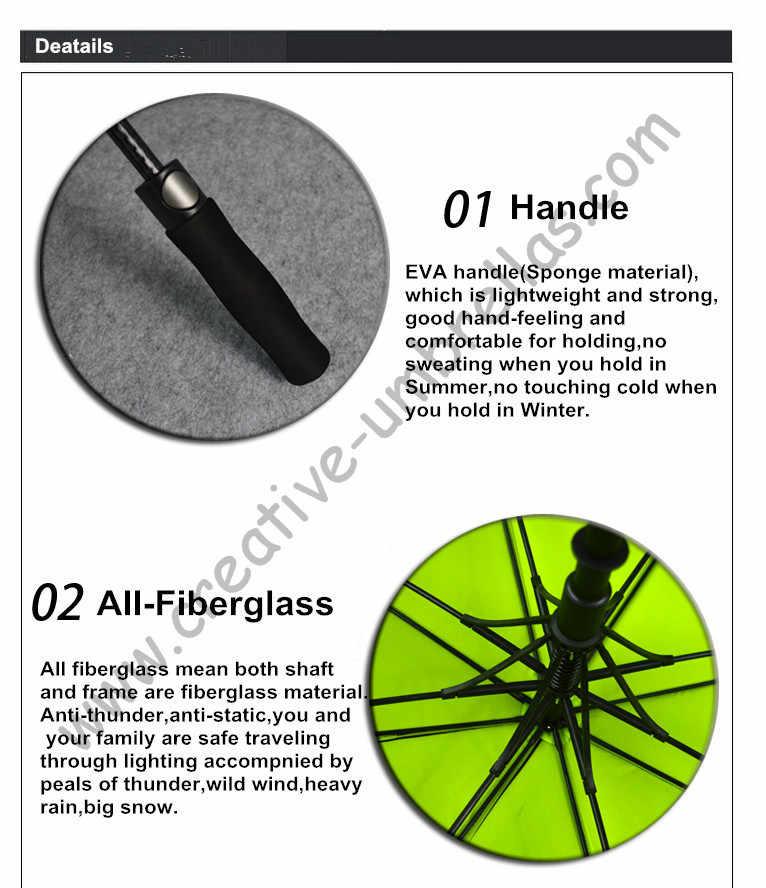 Diametro 130 cm ombrello da golf visibile doppi strati tessuto telaio in fibra di vetro, auto aperta Tessuto di Seta Naturale, anti statico, antivento, baldacchino