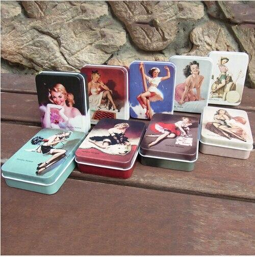 4pcs/lot vintage Marilyn Monroe peninsula tin box jewelry storage bag cardfile cigarette case SN010