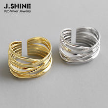 JShine Wide Crossed Lines S925 Sterling Silver Finger Rings Opening Engagement Ring For Decoration Female Costume Fine Jewelry