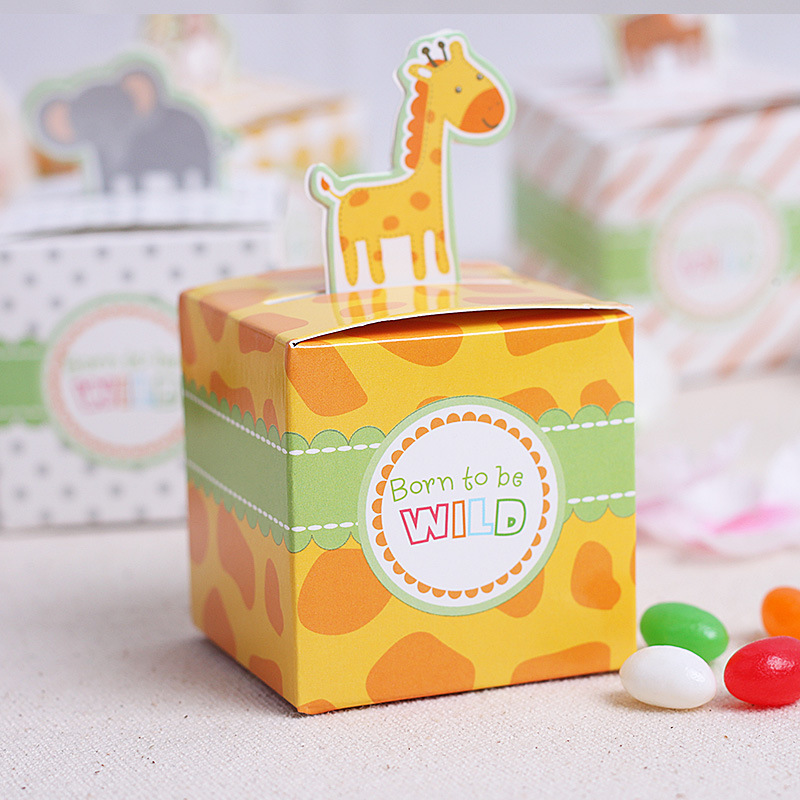 60pcs lot cute animals birthday boy baby shower favors box baby shower