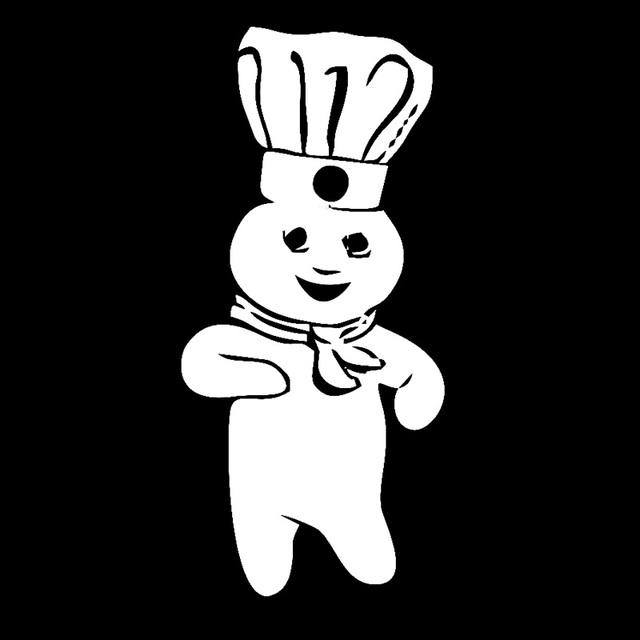 71cm154cm pillsbury doughboy cartoon car styling stickers decals blacksilver