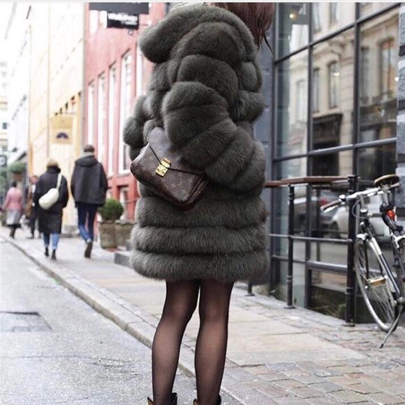 TOPFUR 2018 New Winter Natural Real Fox Fur Thick Fox jacket Women Warm Winter Real Fur With Fur Hood Casual Plus Size