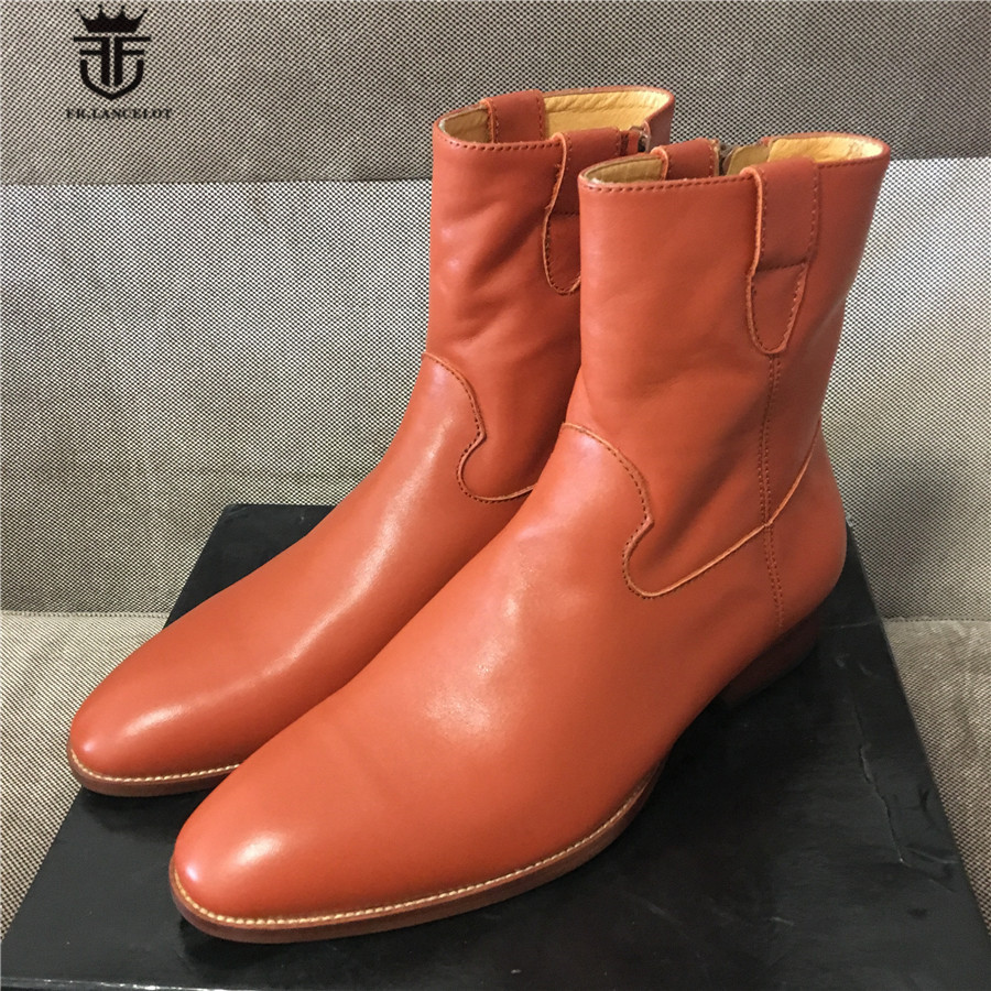 Genuine Leather Luxury Cowbody Rider Denim Boots Handmade soft leather wedge zipper Men Boots