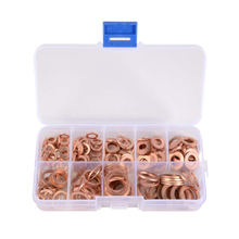 200Pcs/set 9-Size Solid Copper Sump Plug Crush Washer Assorted Engine Seal Flat Ring Tap Plumbing with Case AD144