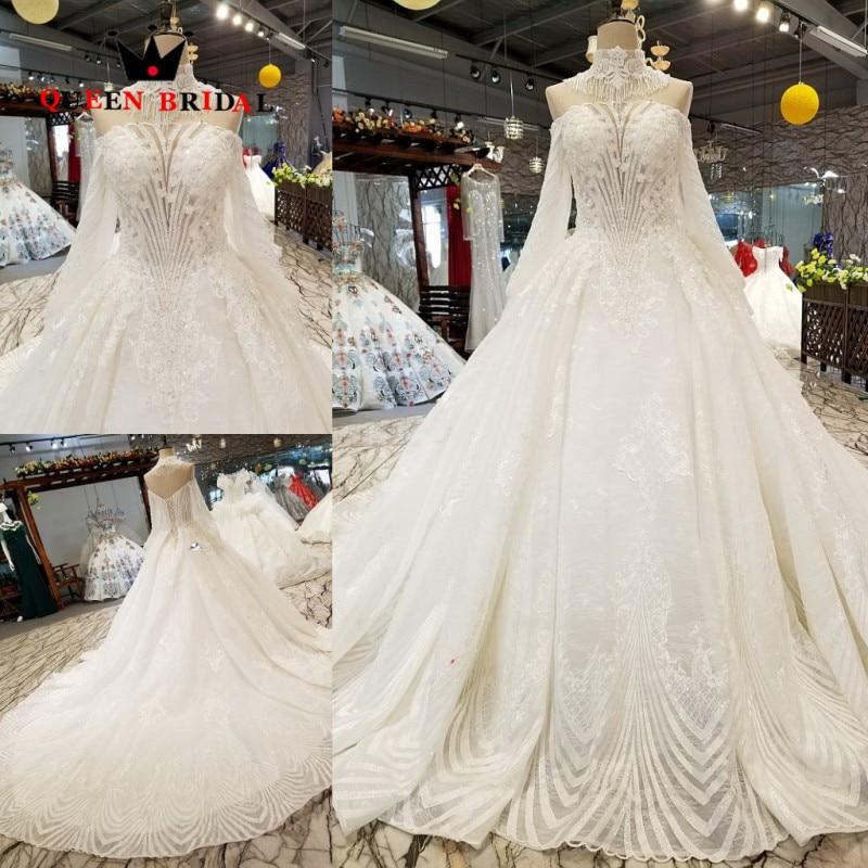 Hot Sale vestido de casamento Full Sleeves Ivory Wedding Dresses QUEEN BRIDAL robe de mariage 2019 Bridal Gown WD137