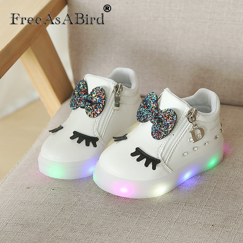 Cute Led Sneakers Kids Breathable Comfort Cute Girl Shoes Shiny Beautiful Kids Casual Shoes Children's Shoes