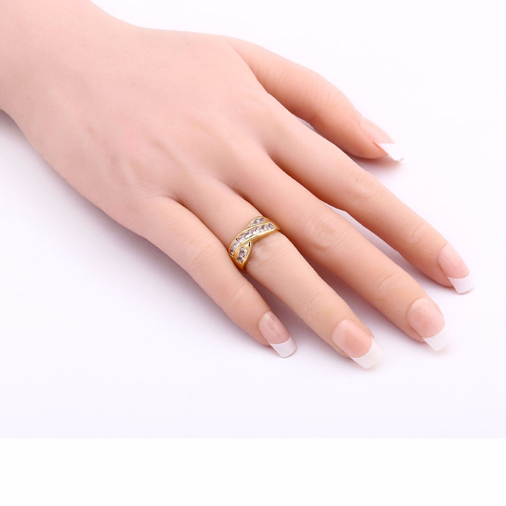 2017 High Quality Zircon Gold Color Jewelry Rings for Lady Women ...