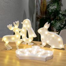 HobbyLane Cute Animals Rabbit Deer Penguin Shape LED Night Light Home Party Decoration Christmas Decoration Lights