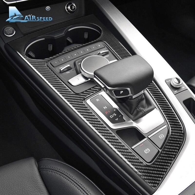 Airspeedfor Audi A4 A5 Accessoires 2017 + LHD Voiture Intérieur Carbone fibre de Changement de Vitesse panneau couverture Garniture Moulures Autocollant style de voiture