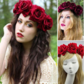 11 cm big Rose mulheres flores faixa de cabelo casamento cabelo coroa de noiva cocar jóias Foto flores
