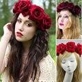 11 cm grande Rose novia guirnalda de flores joyas de pelo tocado de flores Foto de la banda pelo de las mujeres