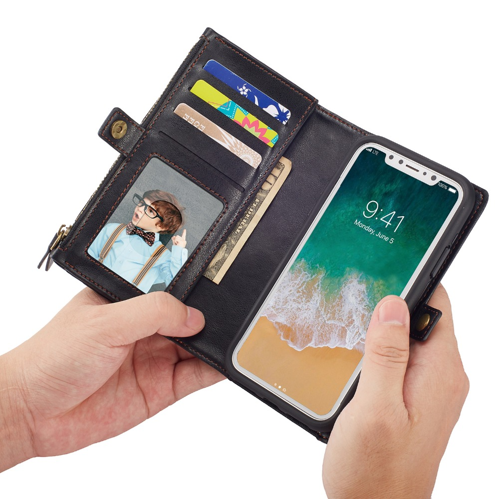BRG Zipper Multifunction PU Flip Wallet Leather Case for Apple Iphone X Ten 10 Phone Case Purse Pouch for IphoneX 5.8inch Bags