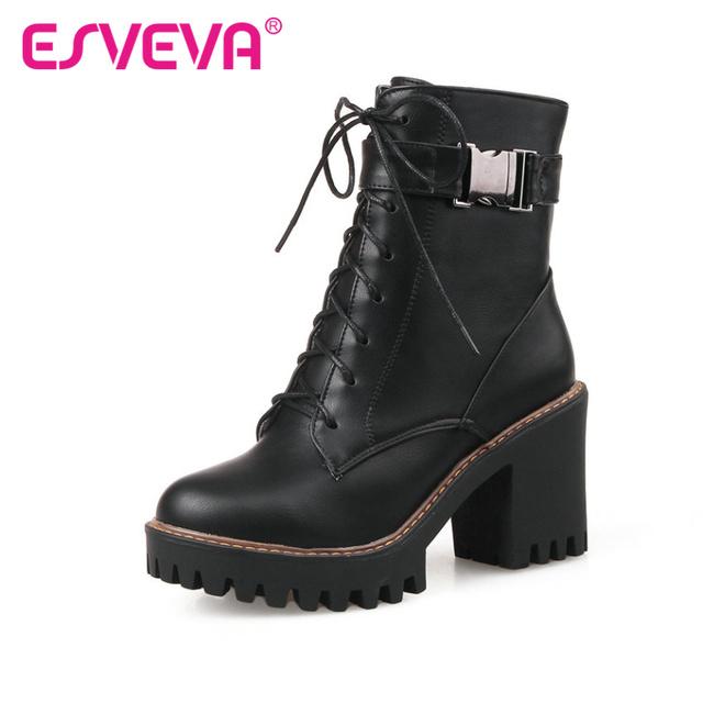 ESVEVA Square High-Heel PU Zipper Ankle Boots Round Toe Platform Ladies Motorcycle Boots Size 34-43