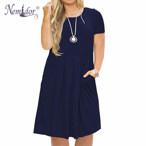 Image 2 - Nemidor 2019 Frauen Solide Oansatz Kurzarm Casual T shirt Kleid Plus Größe 7XL 8XL 9XL Midi Plissee Schaukel Kleid Mit taschen