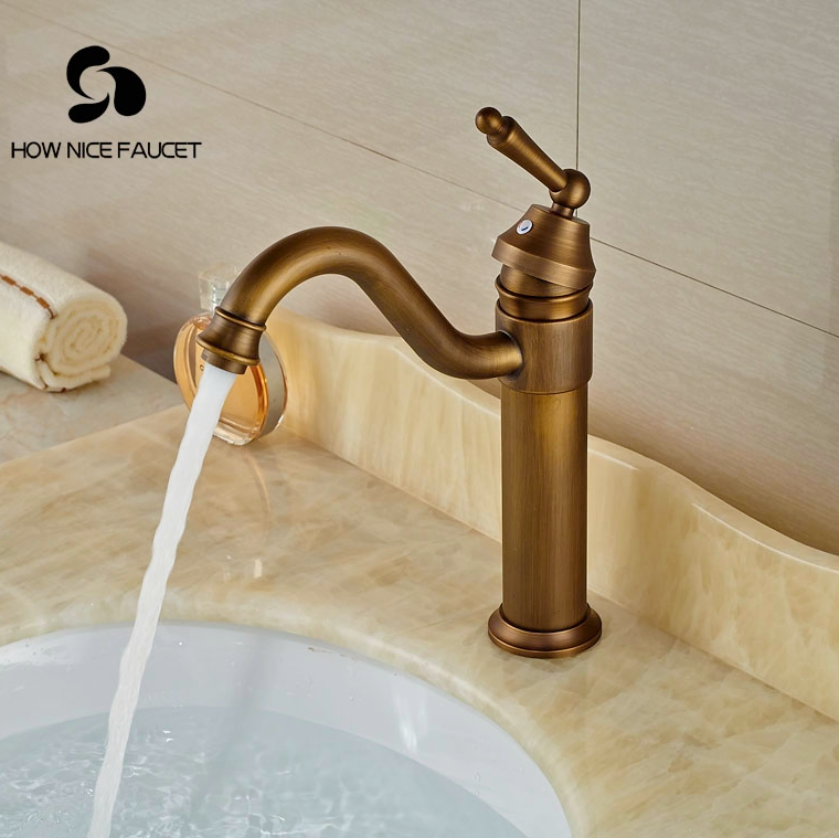Contemporary Basin Faucet Antique Brass Bathroom Vanity Sink Tap Hotu0026Cold  Faucet(China)
