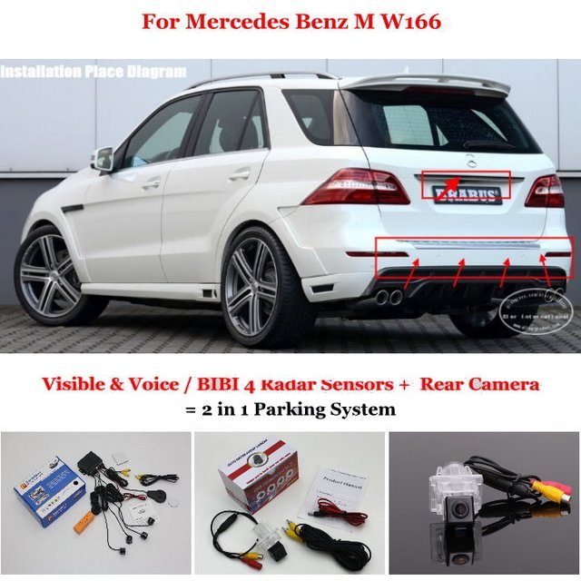 For Mercedes Benz M W166 - Car Parking Sensors + Rear View Camera = 2 in 1 Visual / BIBI Alarm Parking System
