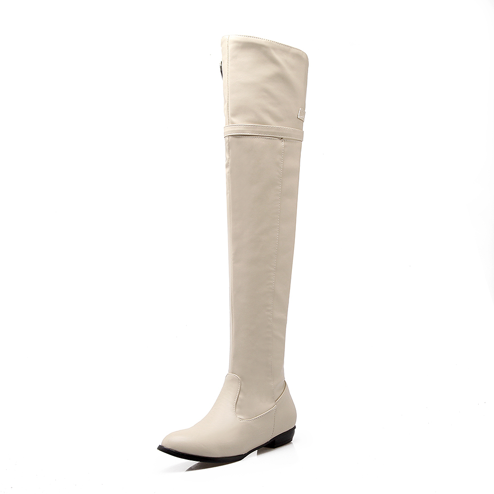 New over the knee high boots women motorcycle boots high leg riding boots low heel leather shoes big plus size 34-45 2016 fashion women winter shoes big size 30 50 low heel botas slip on stretch thin leg over the knee boots 30 31 32 33 hqw a98