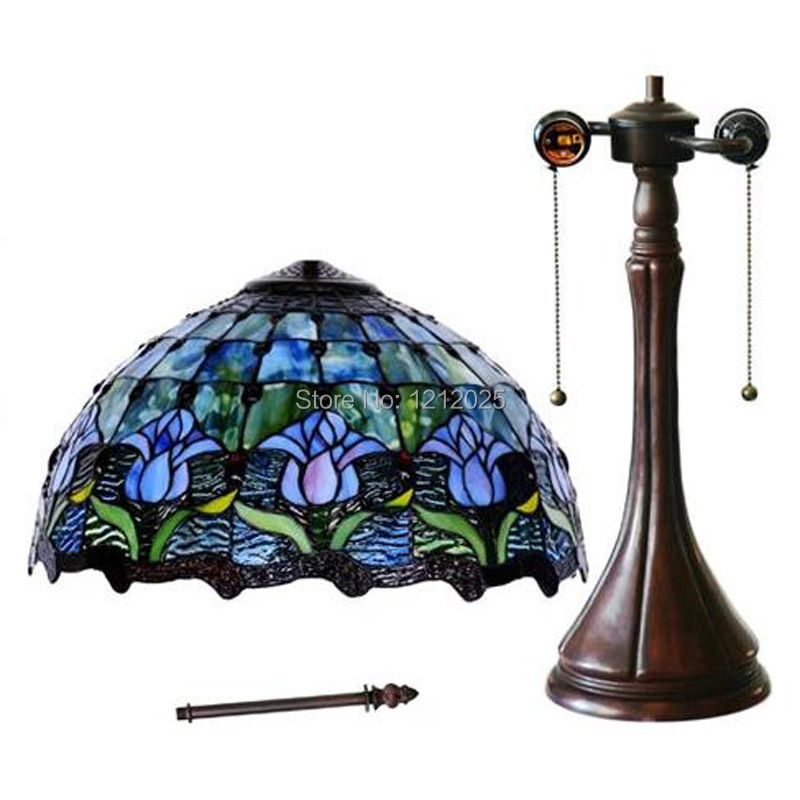 Gorgeous Looking Tiffany Style Tulip Table Lamp Blue Living Room Bedroom Stained Gl Lampshade Vintage Desk Lights Le 40cm In Lamps From